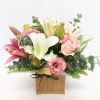 flower arrangment hessian bag pretty pink coolum florist