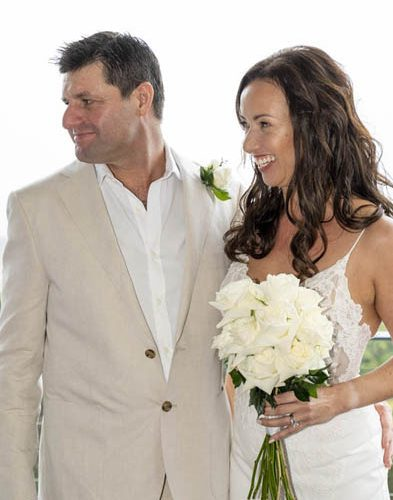 Tulia and Todd White rose wedding bouquet and button hole
